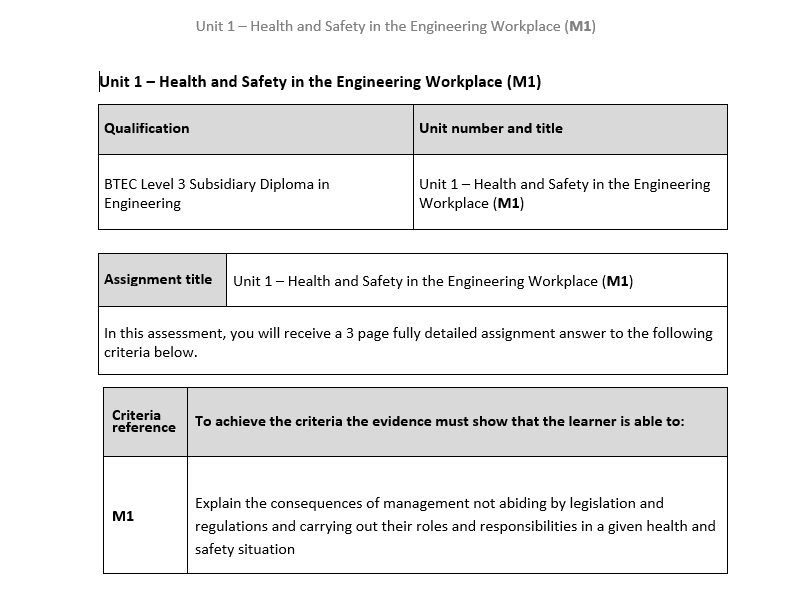 BTEC Level 3 Engineering: Unit 1 (M1) – Health and Safety in the Engineering Workplace