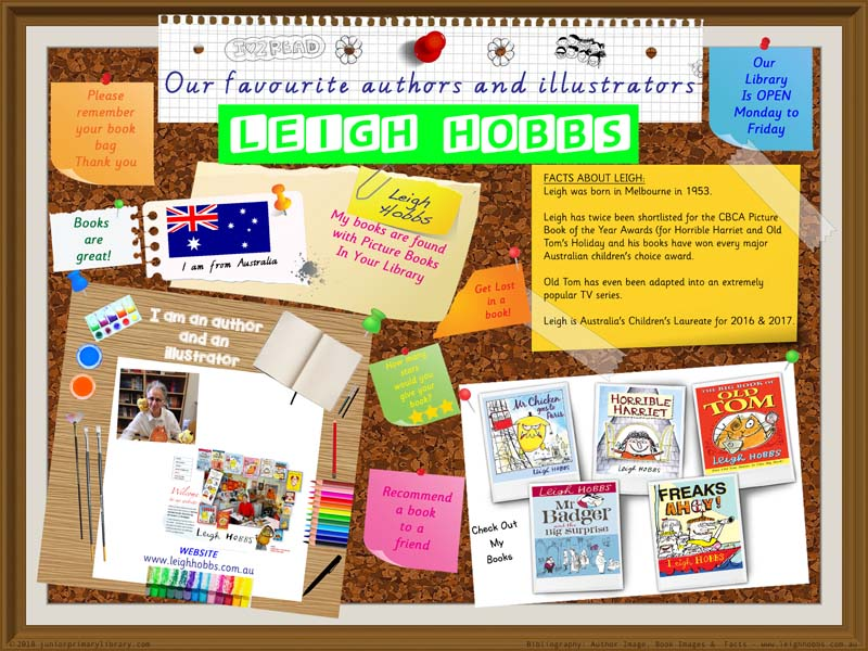 Library Poster - Leigh Hobbs Australian Children's Picture Book Author Illustrator