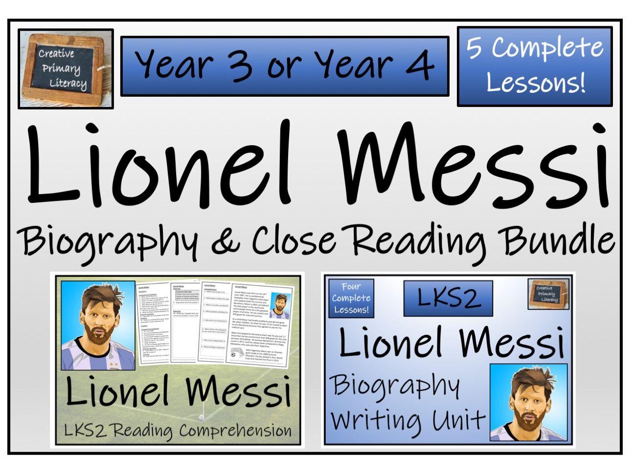 LKS2 - Lionel Messi Reading Comprehension & Biography Bundle
