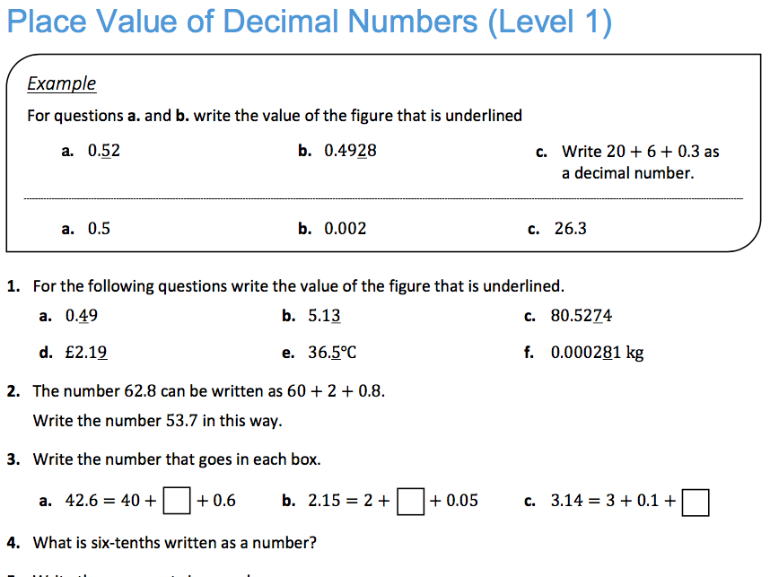 Place Value of Decimal Numbers (Level 1)