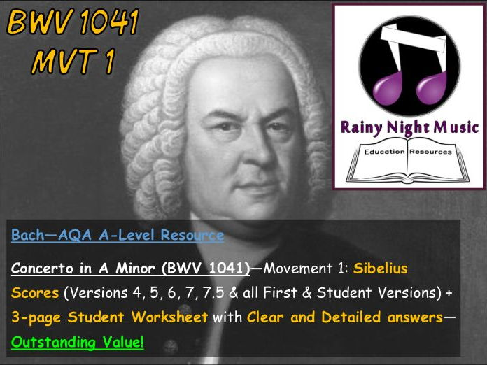 AQA A Level Music Bach Concerto Analysis and Worksheet for Movement 1