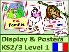 PRIMARY KS2/3 63 FRENCH DISPLAY/POSTER/FLASHCARDS(A3/A4/A5): Family,1-20,Age,Adjectives and more!