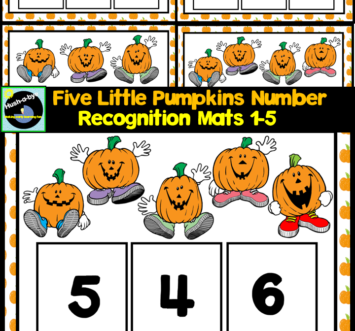 Five Little Pumpkins Number Recognition Mats 1-5