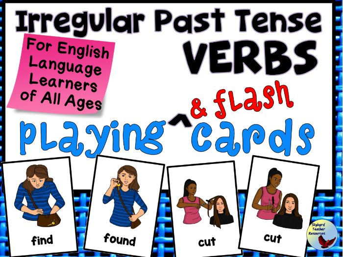 Irregular Past Tense Verbs Playing & Flash Cards ESL English Language Learners