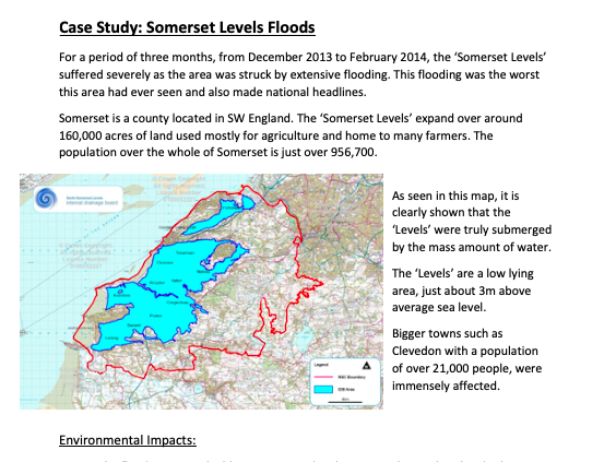 GCSE Geography Weather Hazards case studies - Hurricane Haiyan & Somerset Levels Floods