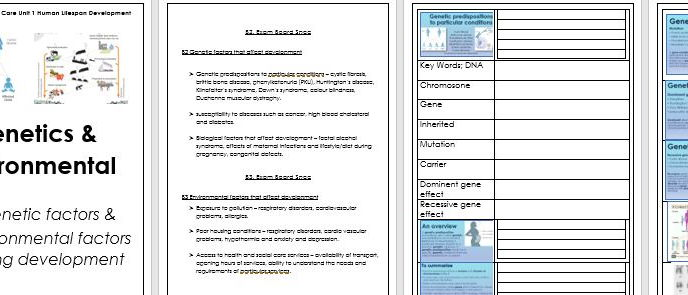 BTEC Health & Social Care Level 3 Unit 1 Lifespan - B2 Genetic & B3 Environmental resources