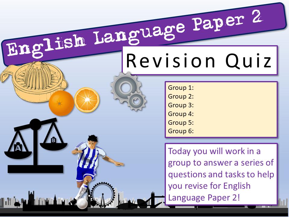 English Language Paper 2 Revision Quiz