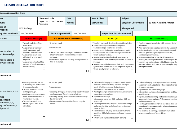 Lesson Observation Template - that shows progression