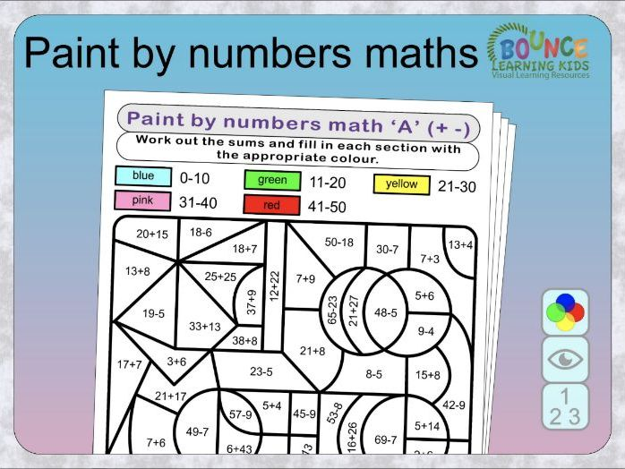 Paint by numbers Maths fun puzzles distance learning worksheets