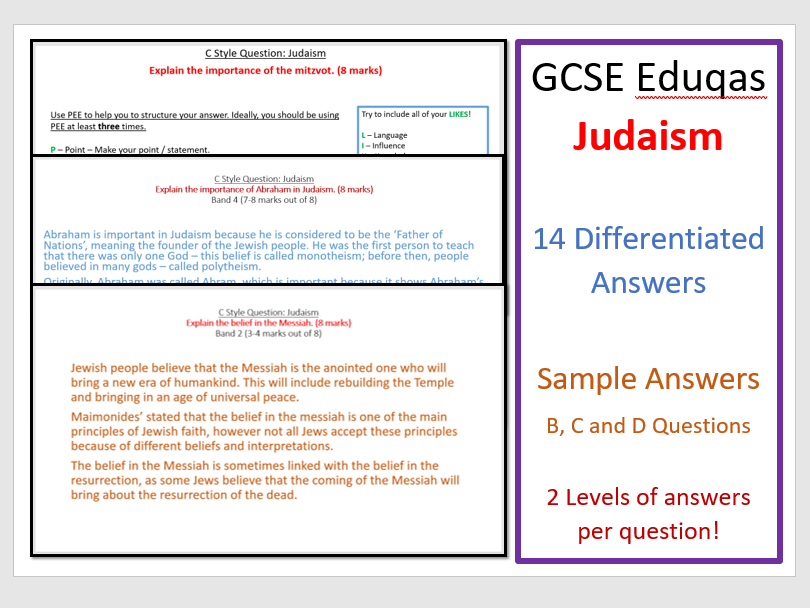 GCSE Eduqas Judaism: Model Answer Revision Pack