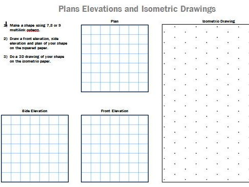 Plans Elevations Isometric Drawing worksheet using multilink cubes