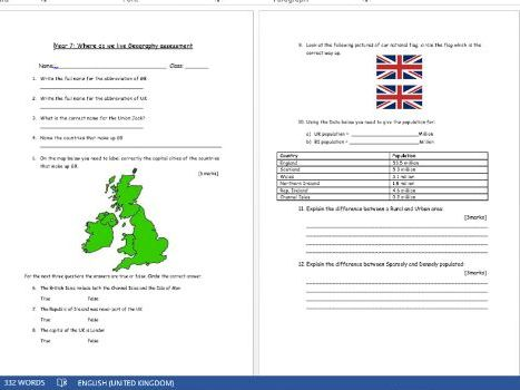 Geography Assessment- The British Isles and the UK