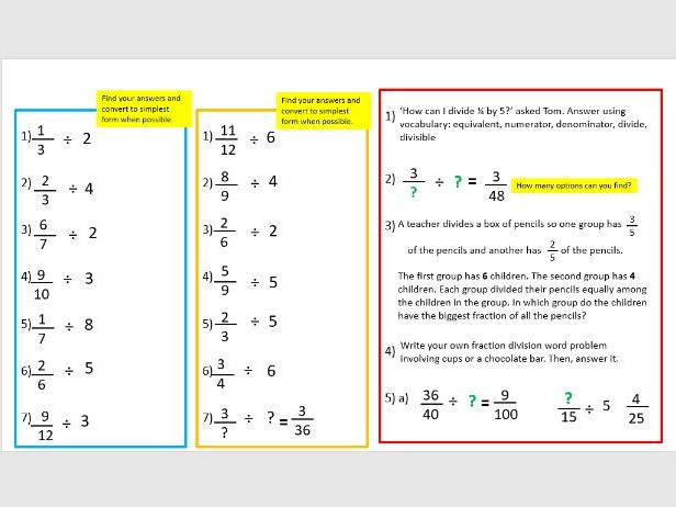 Divide fractions year 6 lesson 3