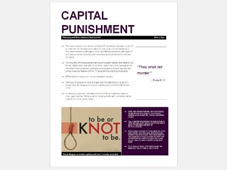 Eduqas Good and Evil: Capital Punishment Exam Booklet
