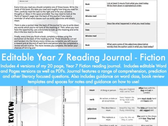 Year 7 Reading Journal / Diary - Fiction: editable version