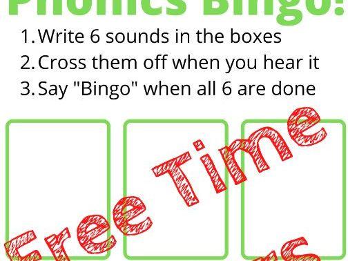 NO PREP TIME FILLER|Phonics/Maths Bingo