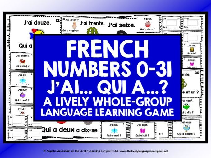 FRENCH NUMBERS 0-31 GAME