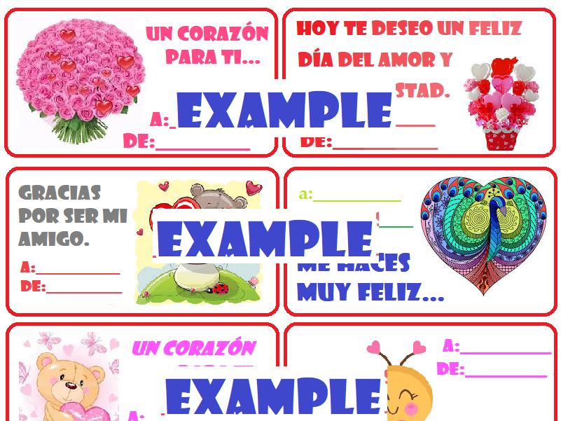 24 Spanish Valentine's Card Día de San Valentín tarjetas