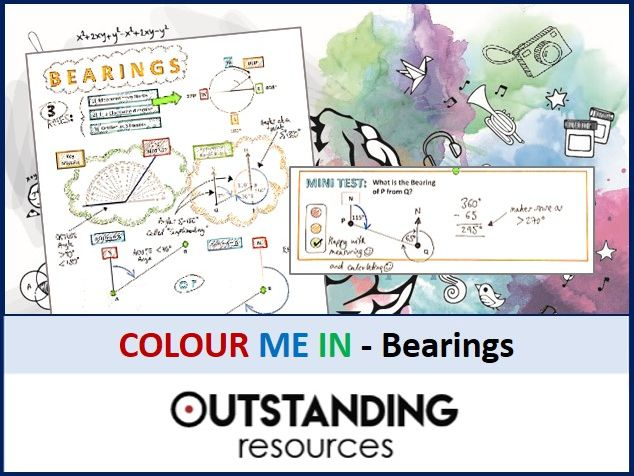 Geometry: Colour Me In Sheets (Doodle Notes) - BEARINGS