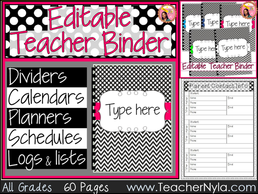 Teacher Planner 2018-2019 Editable Black and White