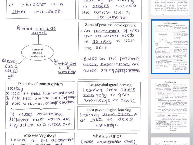 New Alevel physical education revision - Skill acquisition, handwritten summary sheets complete