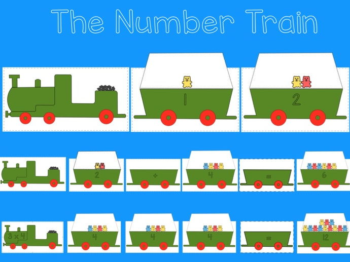 Numeracy Train; Matching numerals to amounts, Addition, subtraction, multiplication, EYFS, KS1