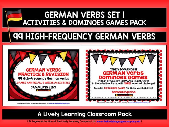 GERMAN VERBS (1) - 99 VERBS - ACTIVITIES & DOMINOES GAMES
