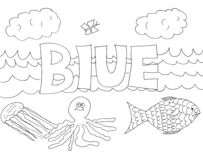 Blue: Colours: Colouring Page