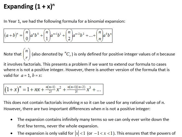 Edexcel New Linear Maths A Level Year 2 Topic 4: Binomial expansion