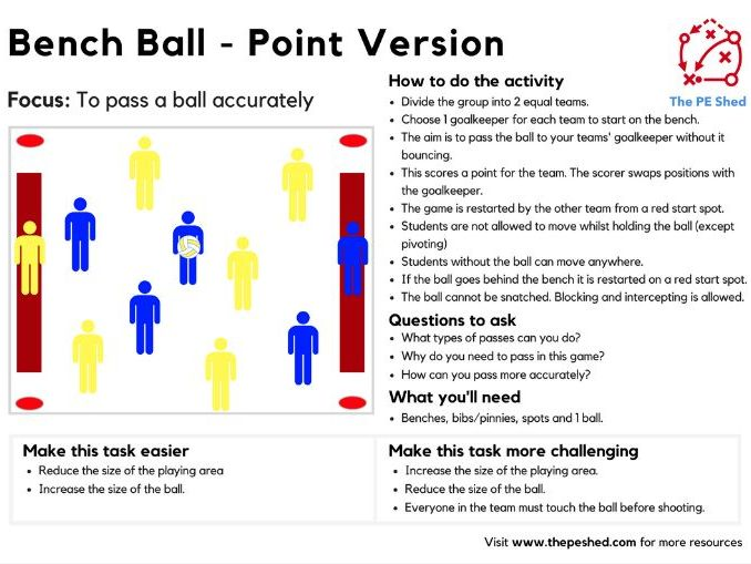 Bench Ball -2 versions- PE Invasion Game