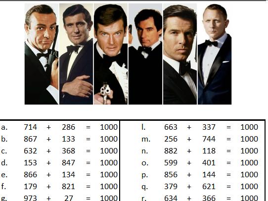 James Bond, Number Bond Worksheet, KS3