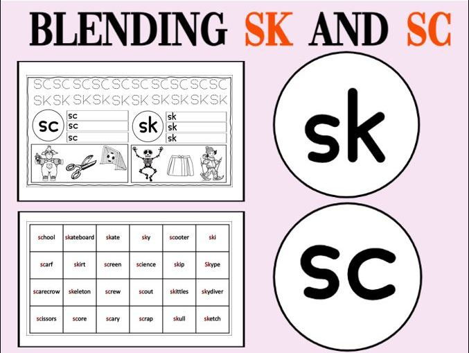 Blending Sk and Sc Worksheets KS1