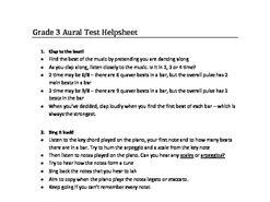 ABRSM Grade 3 Aural test help sheet