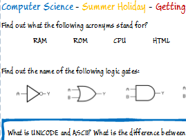 Computer Science - Summer Holiday Homework Tasks  - before starting a new course.
