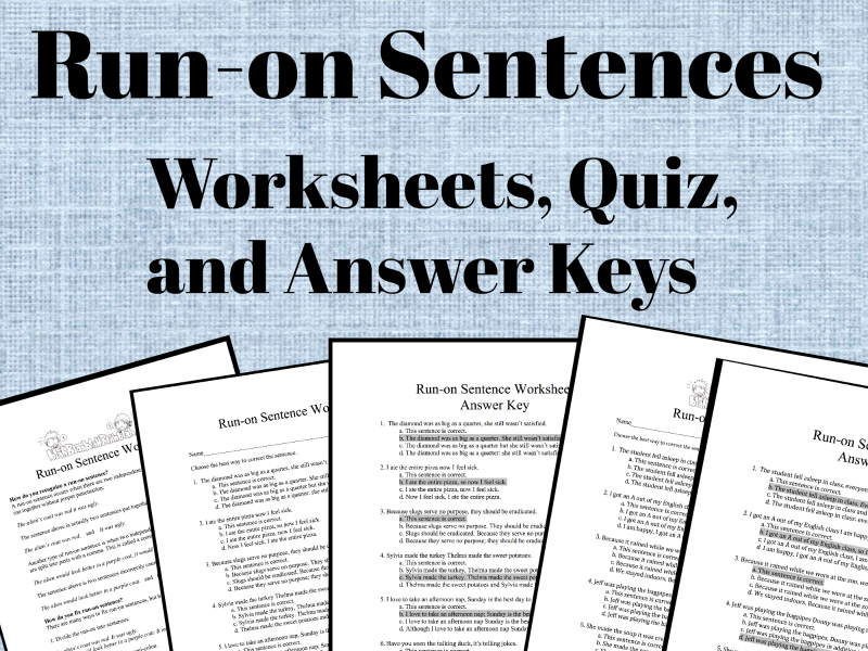 Run-on Sentence Worksheets, Quiz and Answer Keys by LauraTorresELA ...