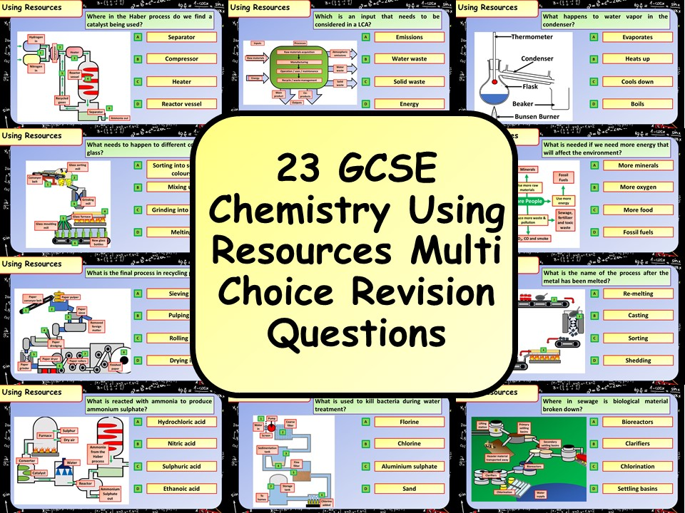 £1 ONLY! KS4 AQA GCSE Chemistry (Science) Using Resources Multiple Choice Revision Questions