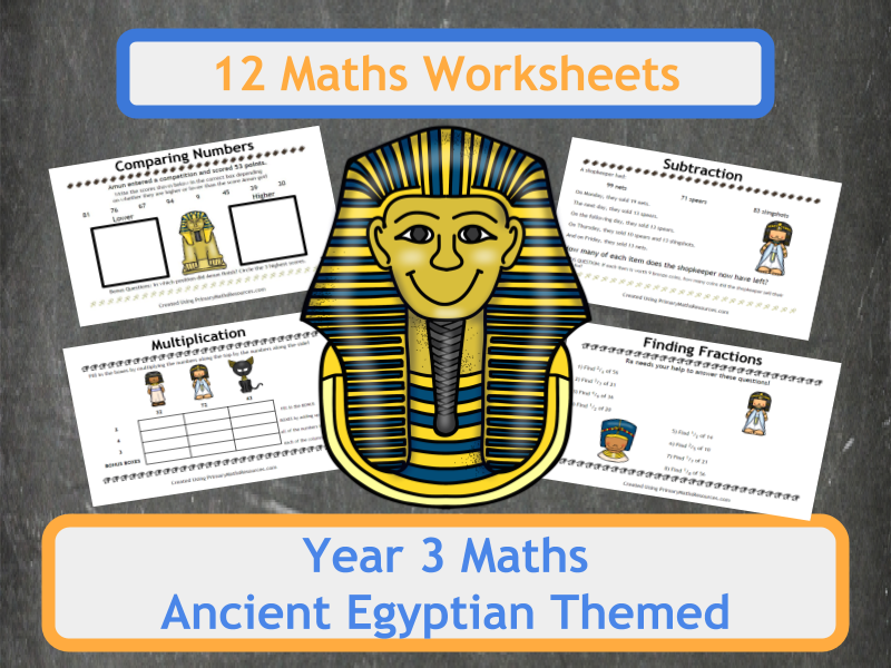 Ancient Egyptian Themed Maths Worksheets - Year 3