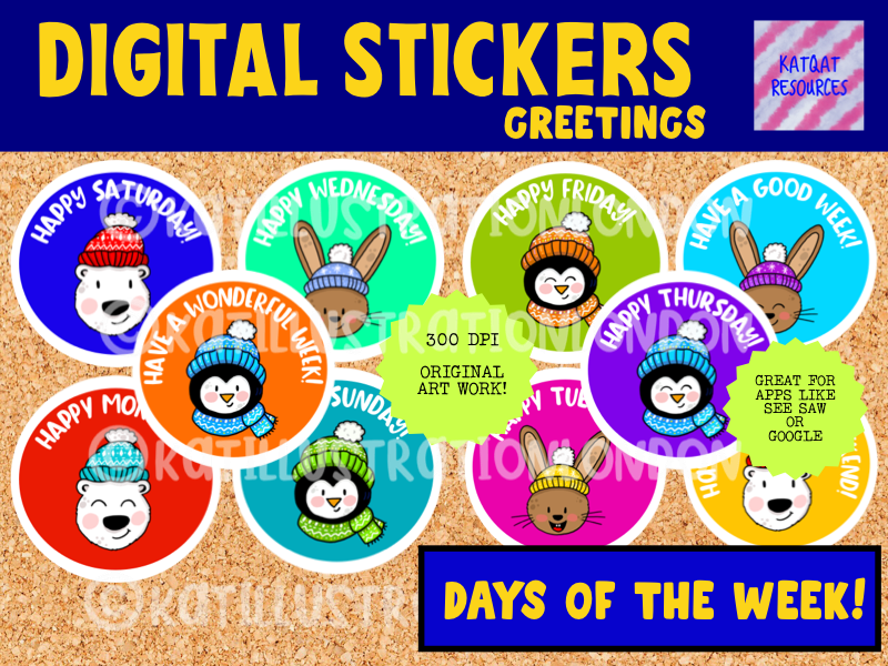 Days Of The Week / Greetings - Digital Stickers - For Seesaw and Google