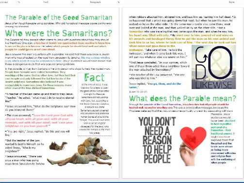 Parable of the Good Samaritan: Differentiated Activity Sheets
