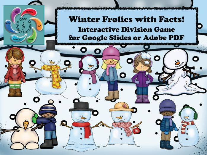 Interactive Division Game for Google Slides /Adobe- Winter Frolics with Facts