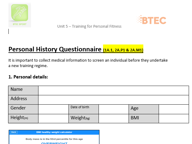 PE BTEC Level 2: Unit 5 - Personal History Questionnaire Example