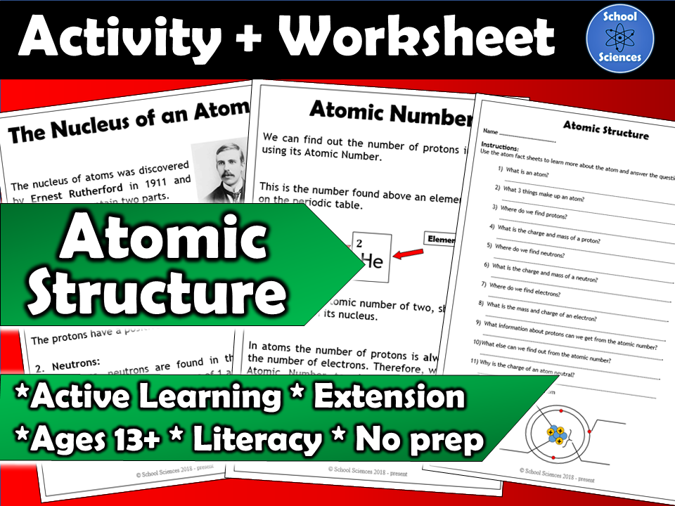 Atomic Structure activity and worksheet