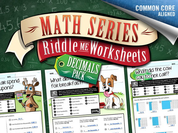 Decimals Worksheets:  Riddle-Me-Worksheets Decimals Pack 1