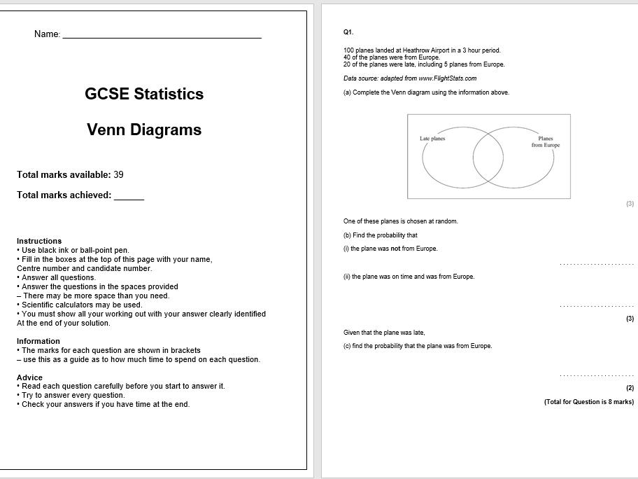 Venn Diagrams Exam Questions (GCSE Statistics)