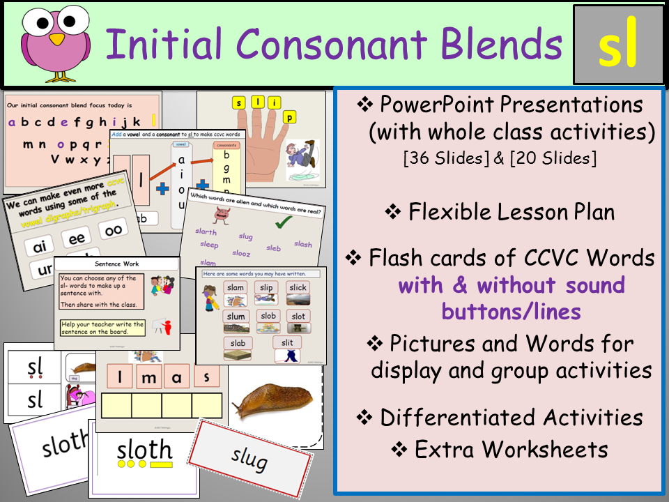 Phonics Phase 4 Consonant Blend Sl Ccvc Words Presentation Lesson