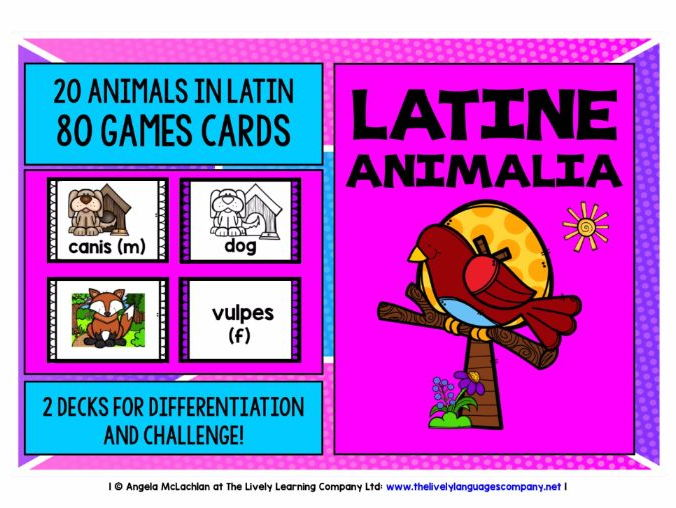 LATIN ANIMALS 80 GAMES CARDS & REFERENCE SHEET