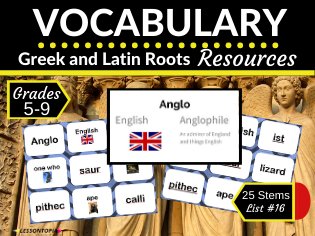 Vocabulary Activities for Greek and Latin Roots-List #16