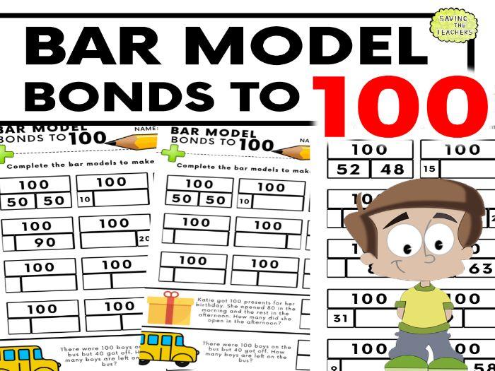 Number Bonds To 100: Bar Model Practise Worksheets
