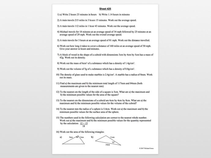 Sheets 401 - 455 from 455 Maths revision sheets
