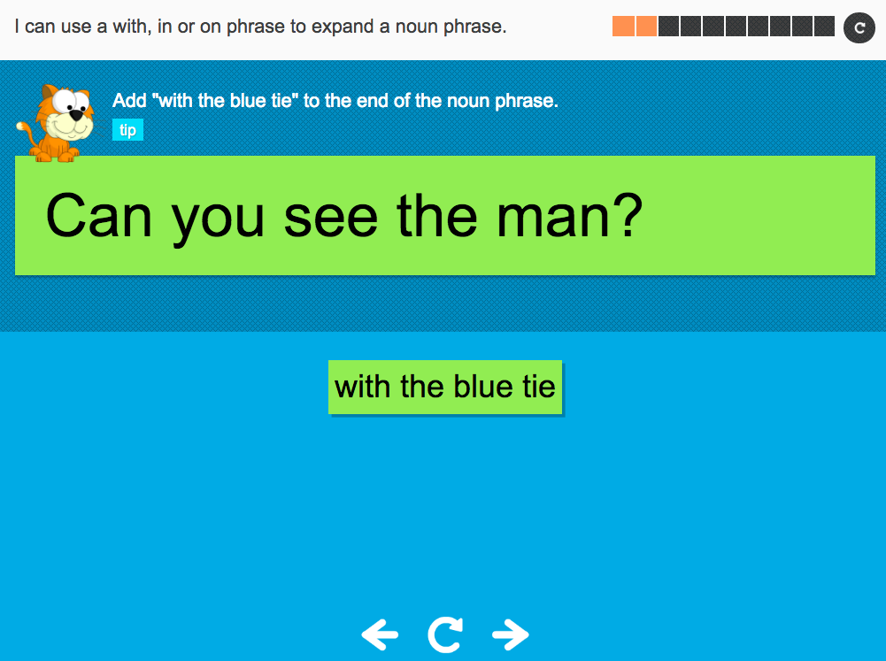 I can use 'a' 'with', 'in' or 'on' phrase to expand a noun phrase - Interactive Activity - Year 2 Spag